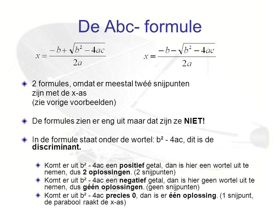 De Abc- formule 2 formules, omdat er meestal twéé snijpunten zijn met de x-as (zie vorige voorbeelden) De formules zien er eng uit maar dat zijn ze NI