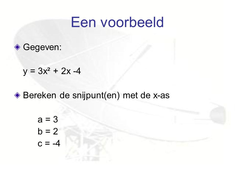 Een voorbeeld Gegeven: y = 3x² + 2x -4 Bereken de snijpunt(en) met de x-as a = 3 b = 2 c = -4