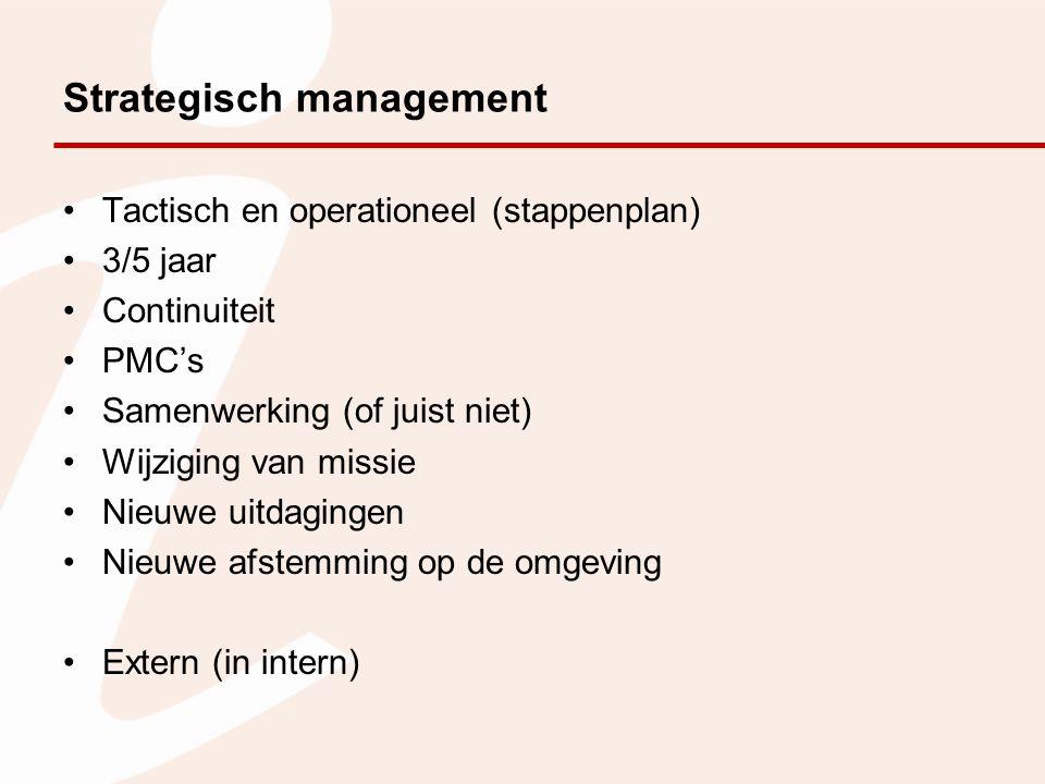 Strategisch management Tactisch en operationeel (stappenplan) 3/5 jaar Continuiteit PMC's Samenwerking (of juist niet) Wijziging van missie Nieuwe uit