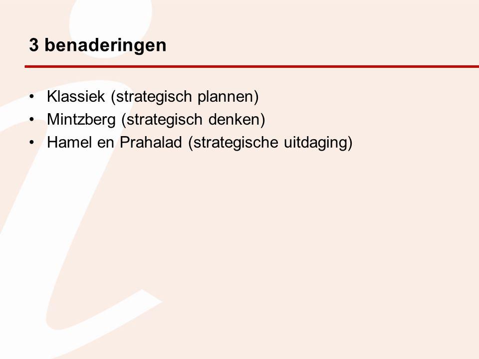 3 benaderingen Klassiek (strategisch plannen) Mintzberg (strategisch denken) Hamel en Prahalad (strategische uitdaging)