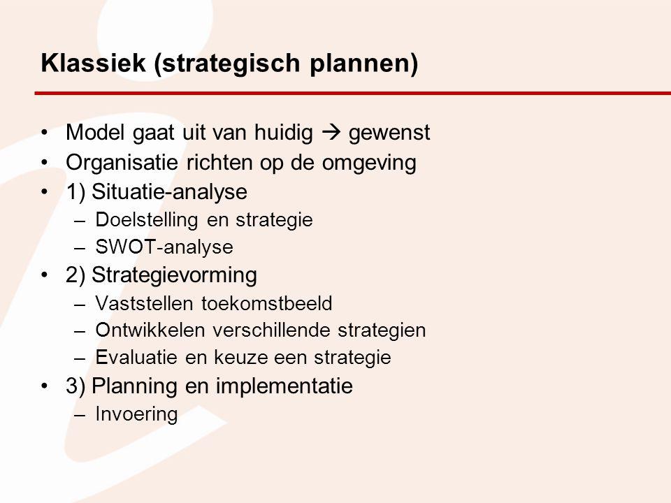 Klassiek (strategisch plannen) Model gaat uit van huidig  gewenst Organisatie richten op de omgeving 1) Situatie-analyse –Doelstelling en strategie –