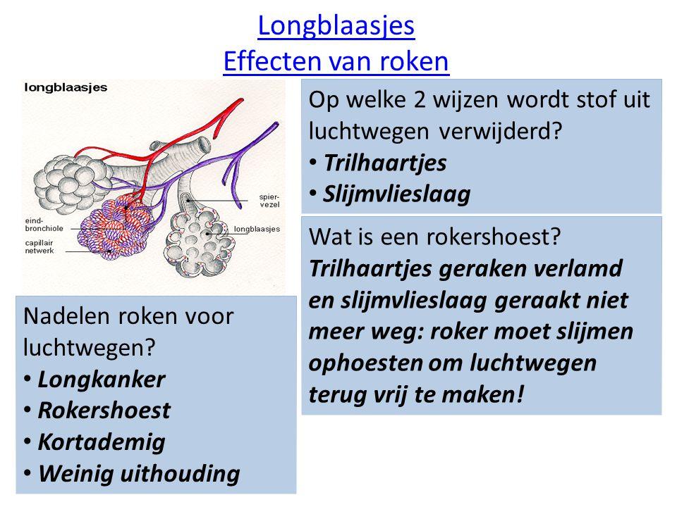 Longblaasjes Effecten van roken Op welke 2 wijzen wordt stof uit luchtwegen verwijderd? Trilhaartjes Slijmvlieslaag Wat is een rokershoest? Trilhaartj