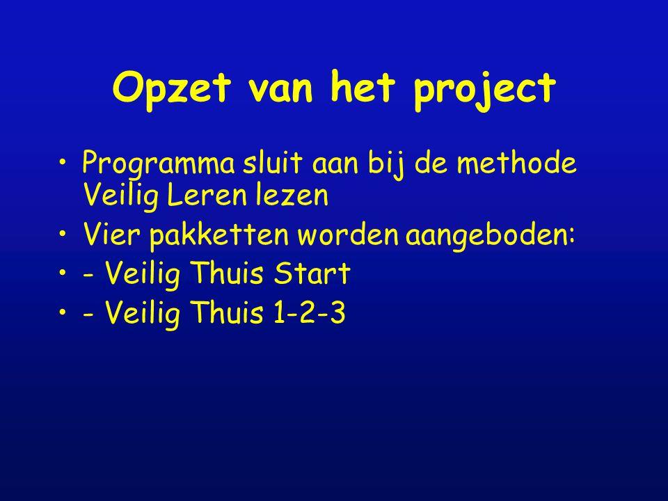 Opzet van het project Programma sluit aan bij de methode Veilig Leren lezen Vier pakketten worden aangeboden: - Veilig Thuis Start - Veilig Thuis 1-2-