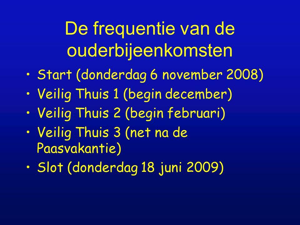 De frequentie van de ouderbijeenkomsten Start (donderdag 6 november 2008) Veilig Thuis 1 (begin december) Veilig Thuis 2 (begin februari) Veilig Thuis