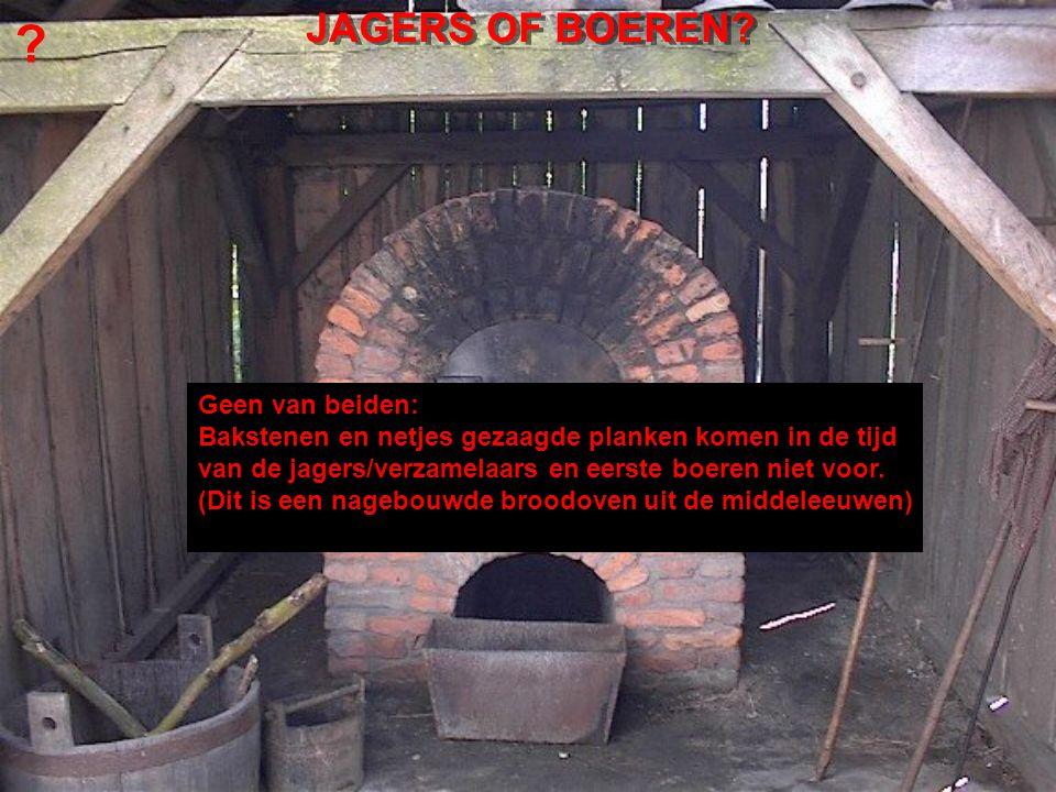 Geen van beiden: Bakstenen en netjes gezaagde planken komen in de tijd van de jagers/verzamelaars en eerste boeren niet voor.