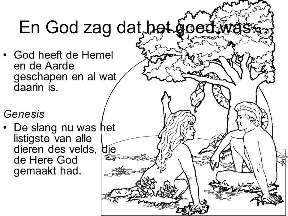 En God zag dat het goed was… God heeft de Hemel en de Aarde geschapen en al wat daarin is. Genesis De slang nu was het listigste van alle dieren des v