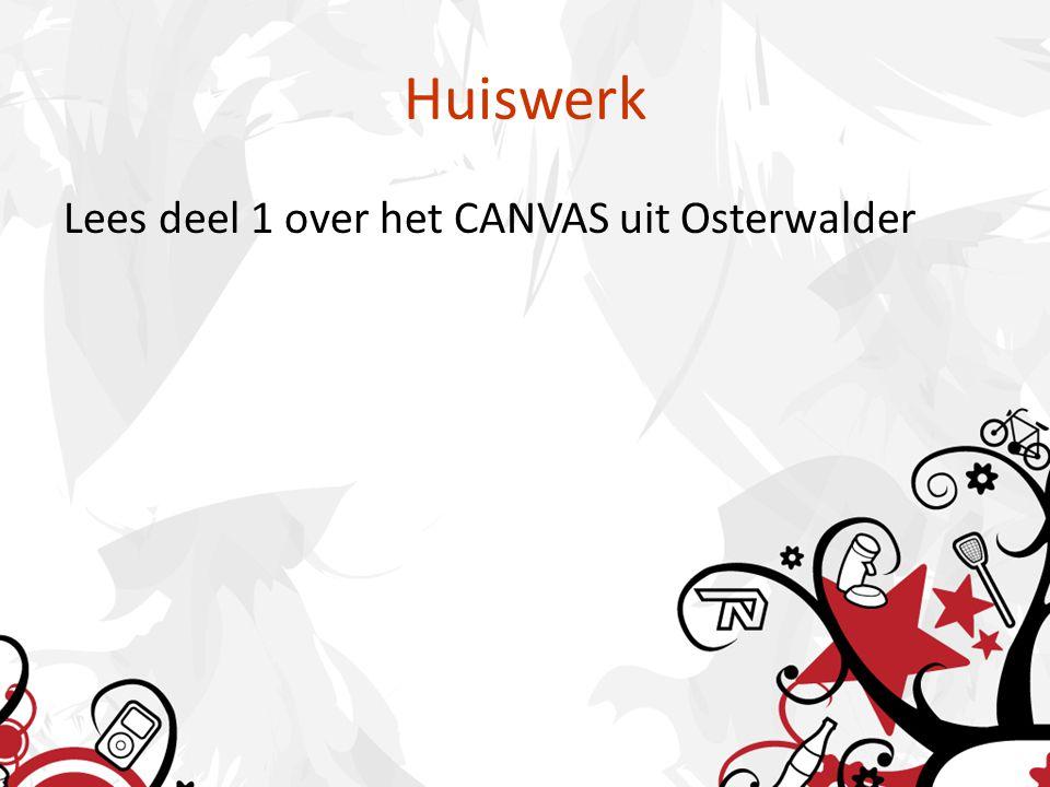 Huiswerk Lees deel 1 over het CANVAS uit Osterwalder