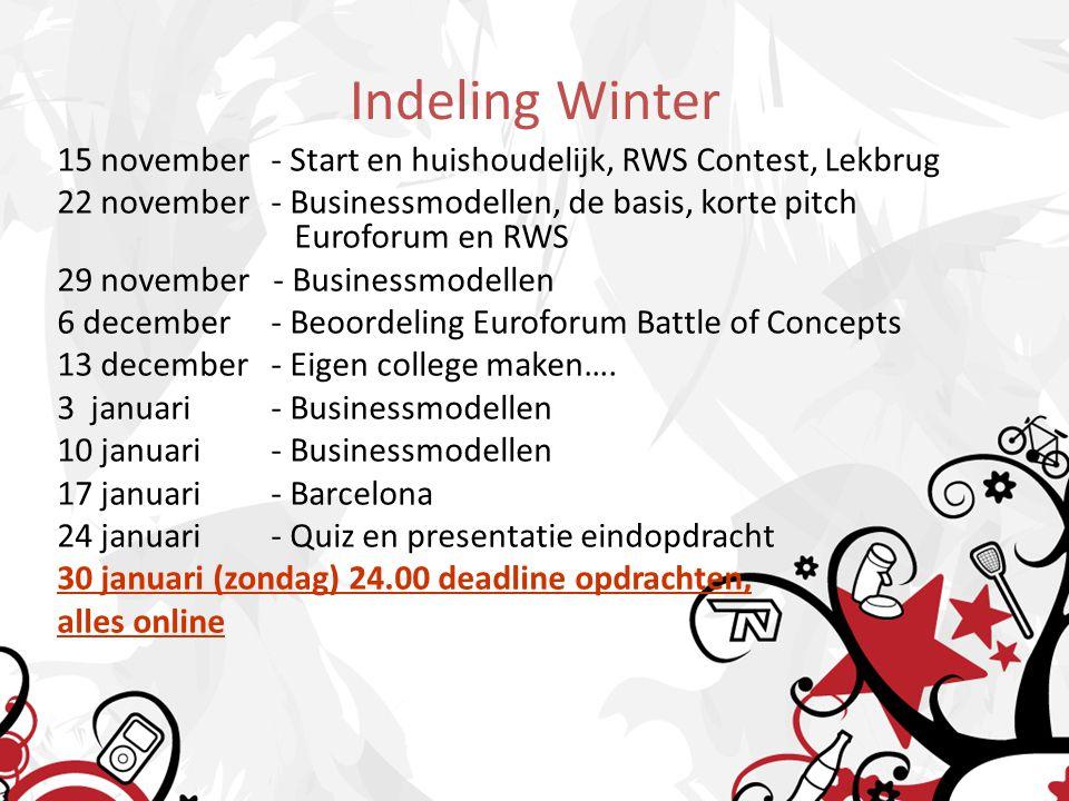 Indeling Winter 15 november- Start en huishoudelijk, RWS Contest, Lekbrug 22 november- Businessmodellen, de basis, korte pitch Euroforum en RWS 29 nov