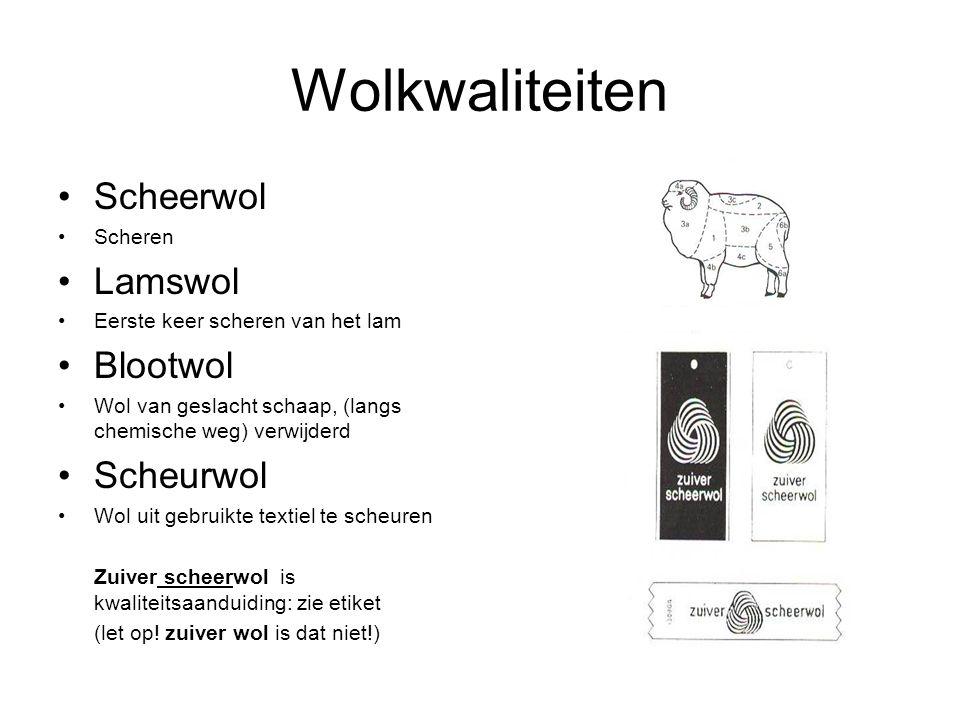 Wolkwaliteiten Scheerwol Scheren Lamswol Eerste keer scheren van het lam Blootwol Wol van geslacht schaap, (langs chemische weg) verwijderd Scheurwol Wol uit gebruikte textiel te scheuren Zuiver scheerwol is kwaliteitsaanduiding: zie etiket (let op.