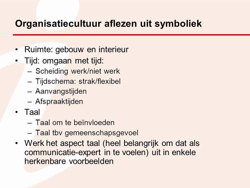 Organisatiecultuur aflezen uit symboliek Ruimte: gebouw en interieur Tijd: omgaan met tijd: –Scheiding werk/niet werk –Tijdschema: strak/flexibel –Aan