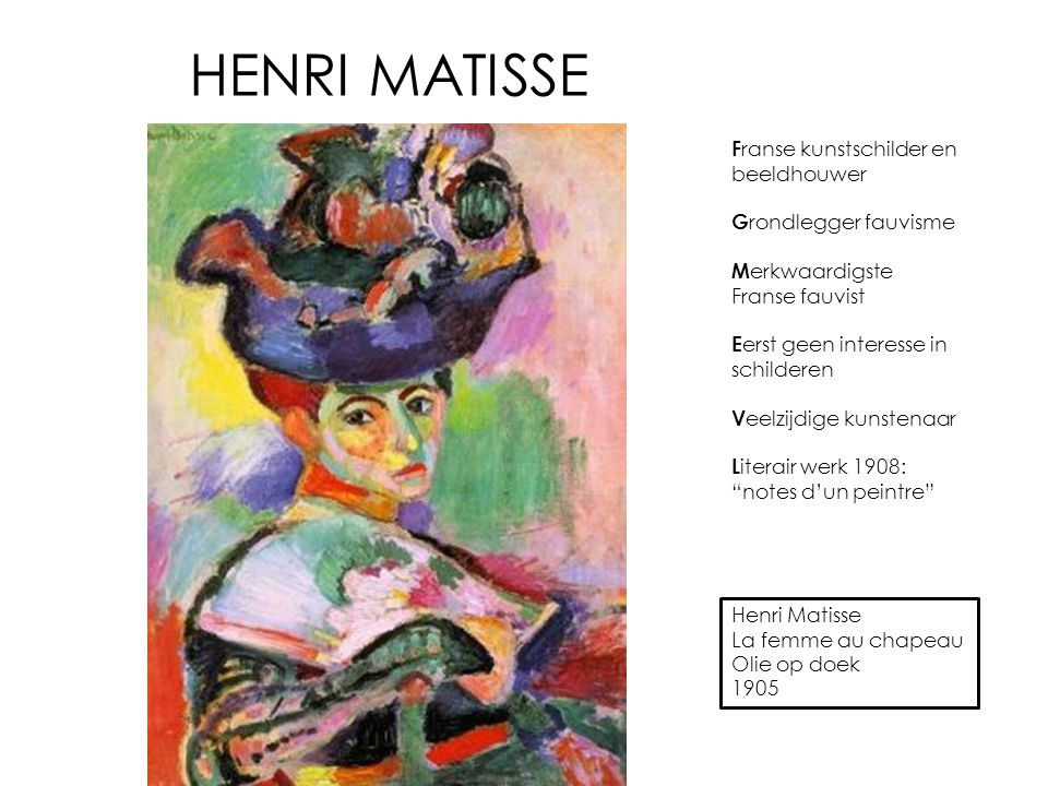 HENRI MATISSE Henri Matisse La femme au chapeau Olie op doek 1905 F ranse kunstschilder en beeldhouwer G rondlegger fauvisme M erkwaardigste Franse fa
