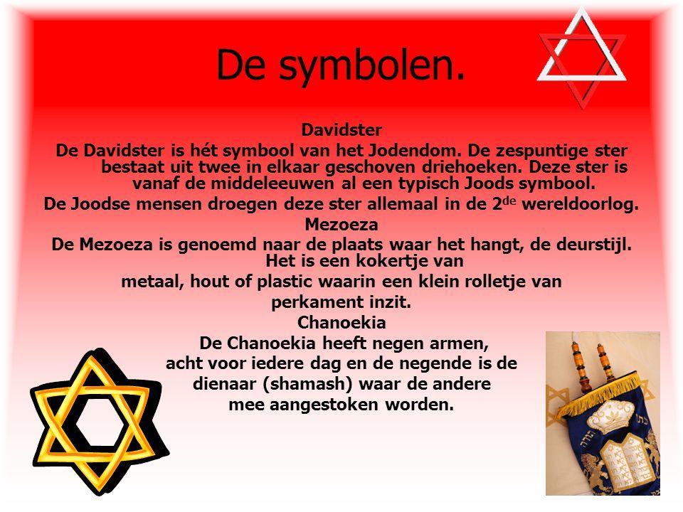 De symbolen. Davidster De Davidster is hét symbool van het Jodendom. De zespuntige ster bestaat uit twee in elkaar geschoven driehoeken. Deze ster is