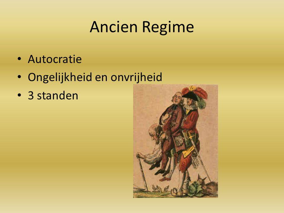 Ancien Regime Autocratie Ongelijkheid en onvrijheid 3 standen