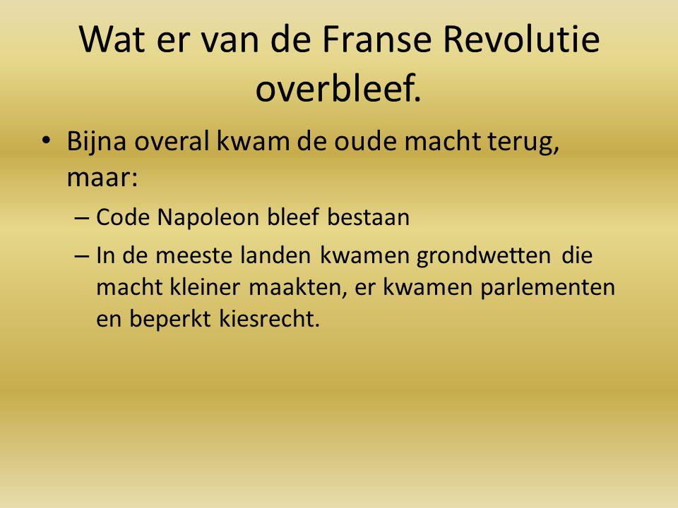 Wat er van de Franse Revolutie overbleef. Bijna overal kwam de oude macht terug, maar: – Code Napoleon bleef bestaan – In de meeste landen kwamen gron