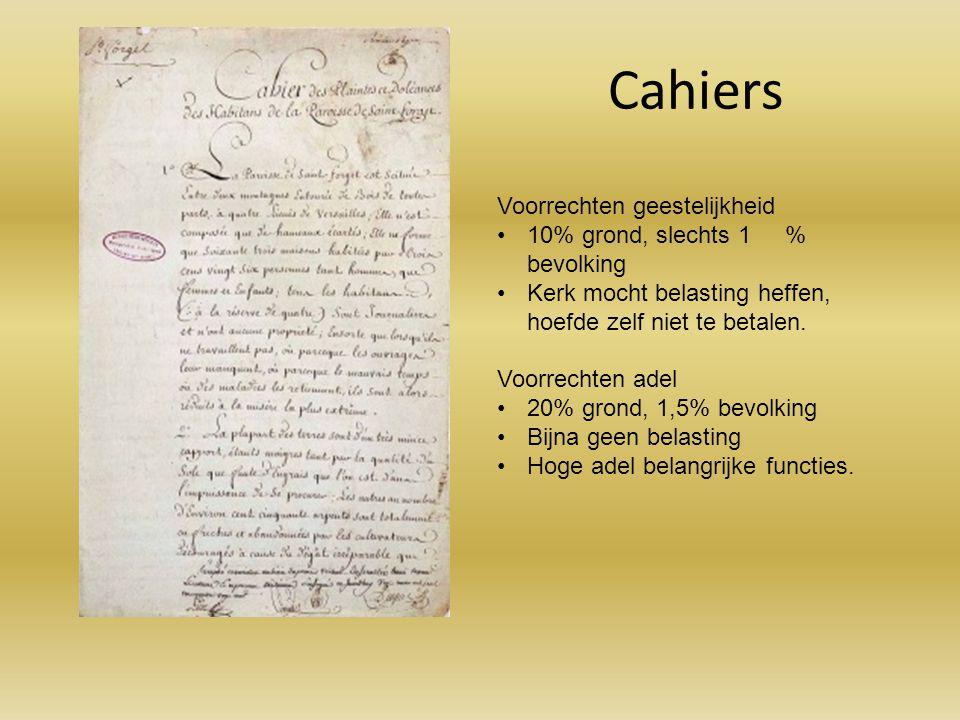 Cahiers Voorrechten geestelijkheid 10% grond, slechts 1 % bevolking Kerk mocht belasting heffen, hoefde zelf niet te betalen. Voorrechten adel 20% gro