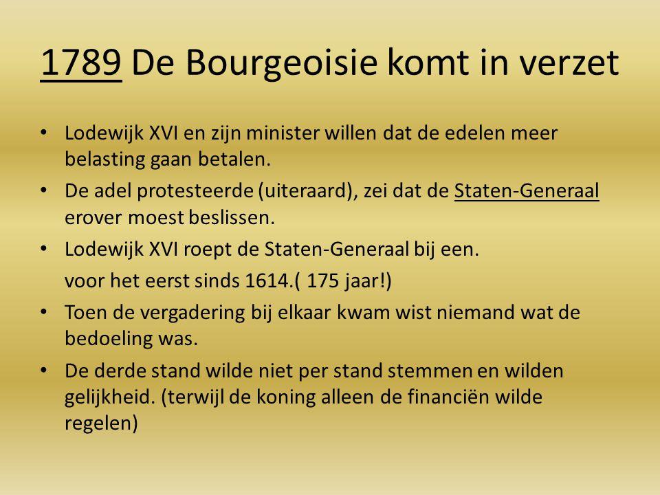 1789 De Bourgeoisie komt in verzet Lodewijk XVI en zijn minister willen dat de edelen meer belasting gaan betalen. De adel protesteerde (uiteraard), z
