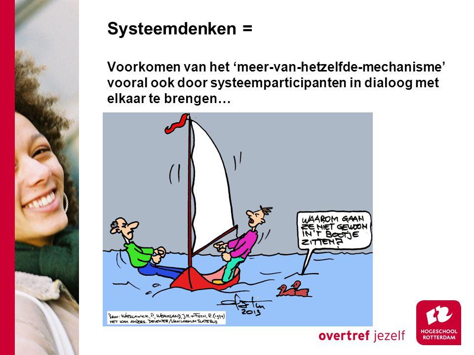 Systeemdenken = Voorkomen van het 'meer-van-hetzelfde-mechanisme' vooral ook door systeemparticipanten in dialoog met elkaar te brengen…