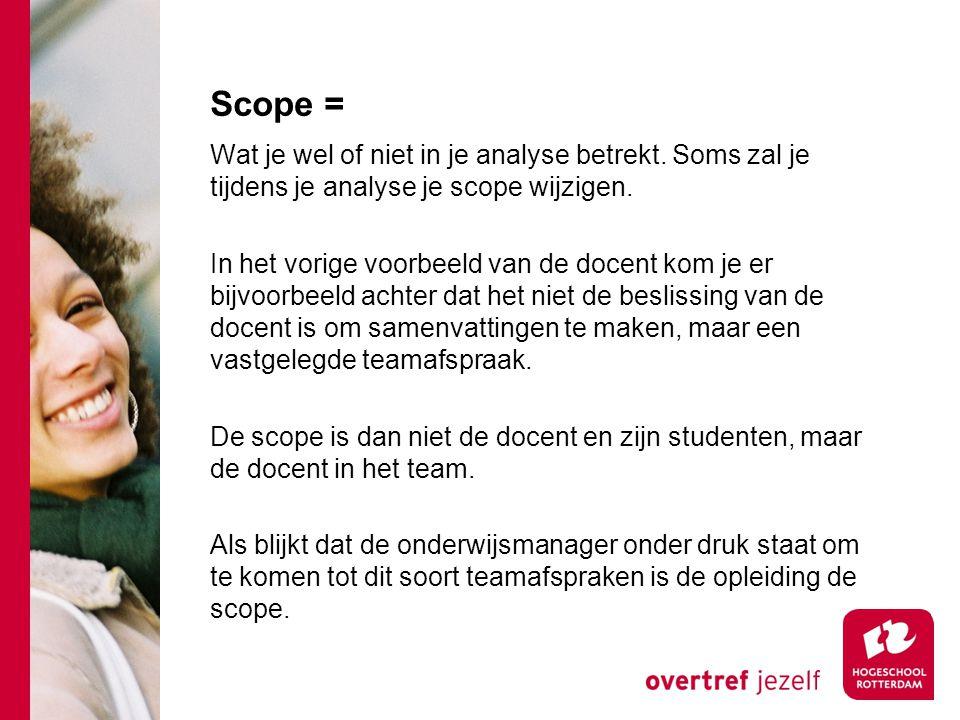 Scope = Wat je wel of niet in je analyse betrekt.Soms zal je tijdens je analyse je scope wijzigen.