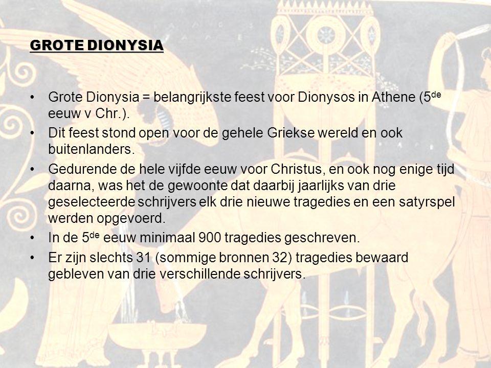 GROTE DIONYSIA Grote Dionysia = belangrijkste feest voor Dionysos in Athene (5 de eeuw v Chr.). Dit feest stond open voor de gehele Griekse wereld en