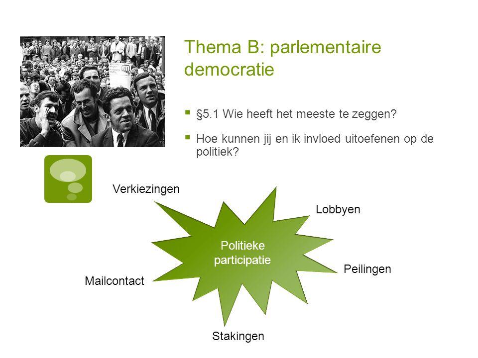 Thema B: parlementaire democratie  §5.1 Wie heeft het meeste te zeggen.