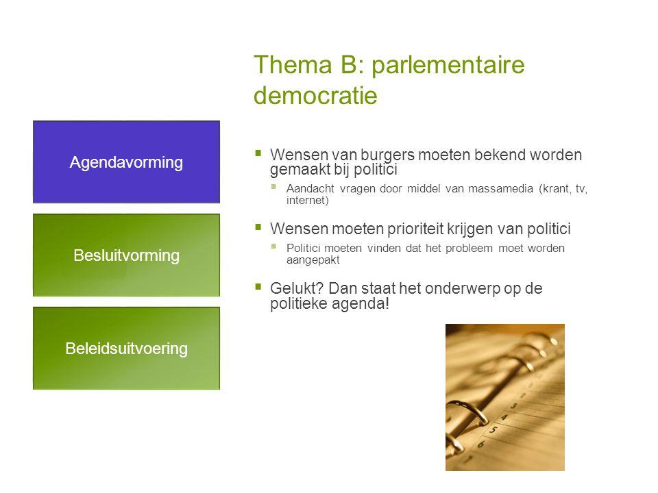Thema B: parlementaire democratie  Wensen van burgers moeten bekend worden gemaakt bij politici  Aandacht vragen door middel van massamedia (krant, tv, internet)  Wensen moeten prioriteit krijgen van politici  Politici moeten vinden dat het probleem moet worden aangepakt  Gelukt.