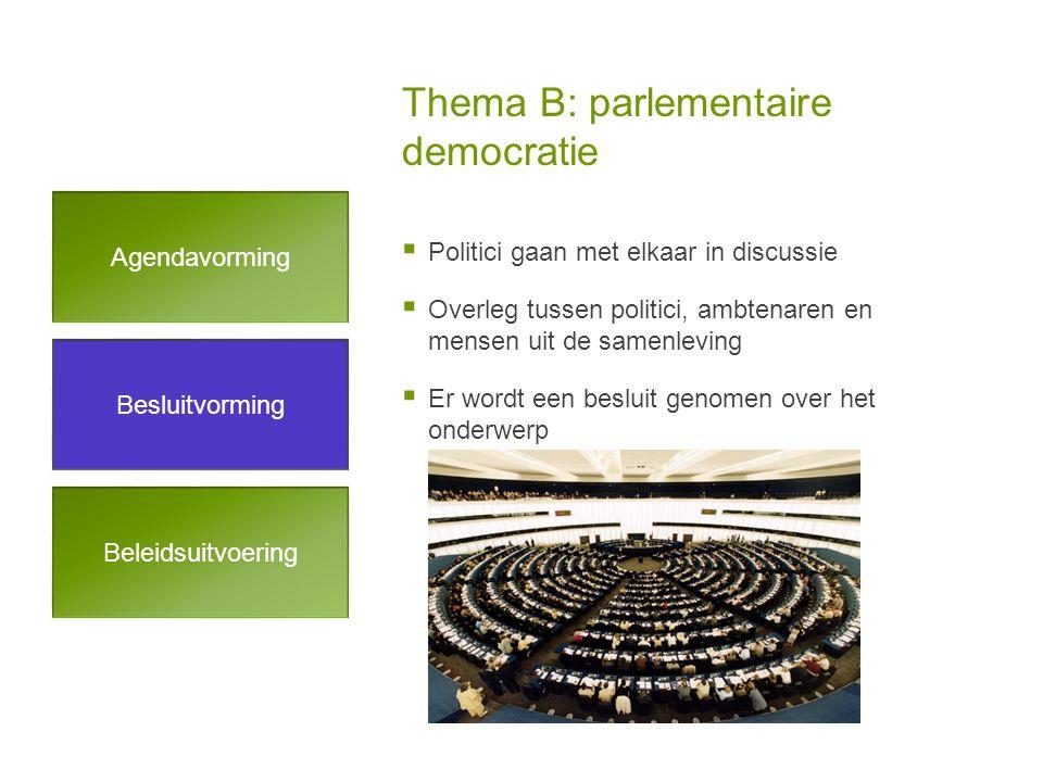 Thema B: parlementaire democratie Besluitvorming Agendavorming Beleidsuitvoering  Politici gaan met elkaar in discussie  Overleg tussen politici, ambtenaren en mensen uit de samenleving  Er wordt een besluit genomen over het onderwerp