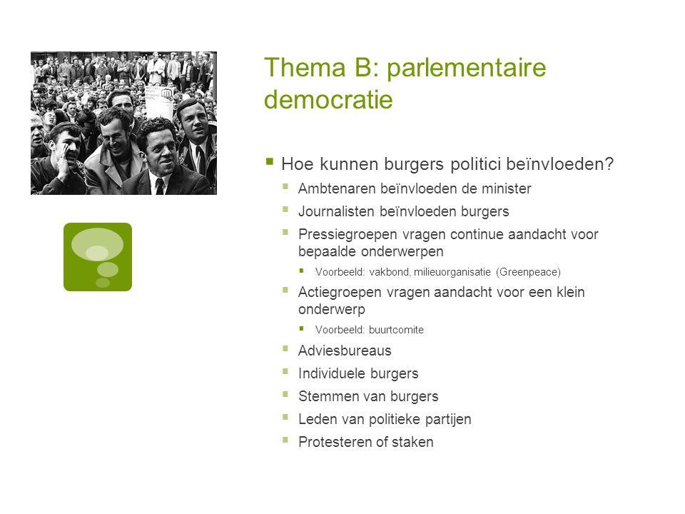 Thema B: parlementaire democratie  Hoe kunnen burgers politici beïnvloeden.