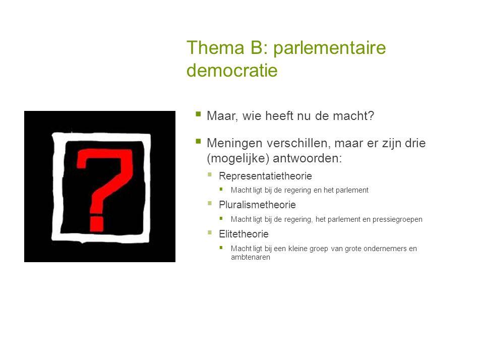Thema B: parlementaire democratie  Maar, wie heeft nu de macht.
