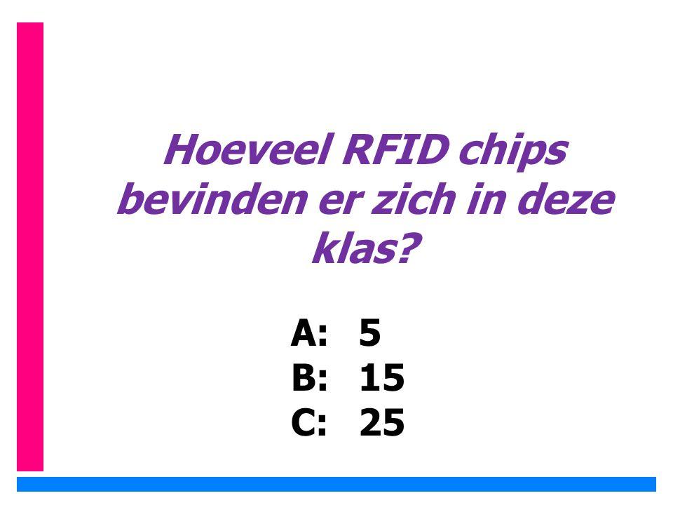 Hoeveel RFID chips bevinden er zich in deze klas? A:5 B: 15 C: 25