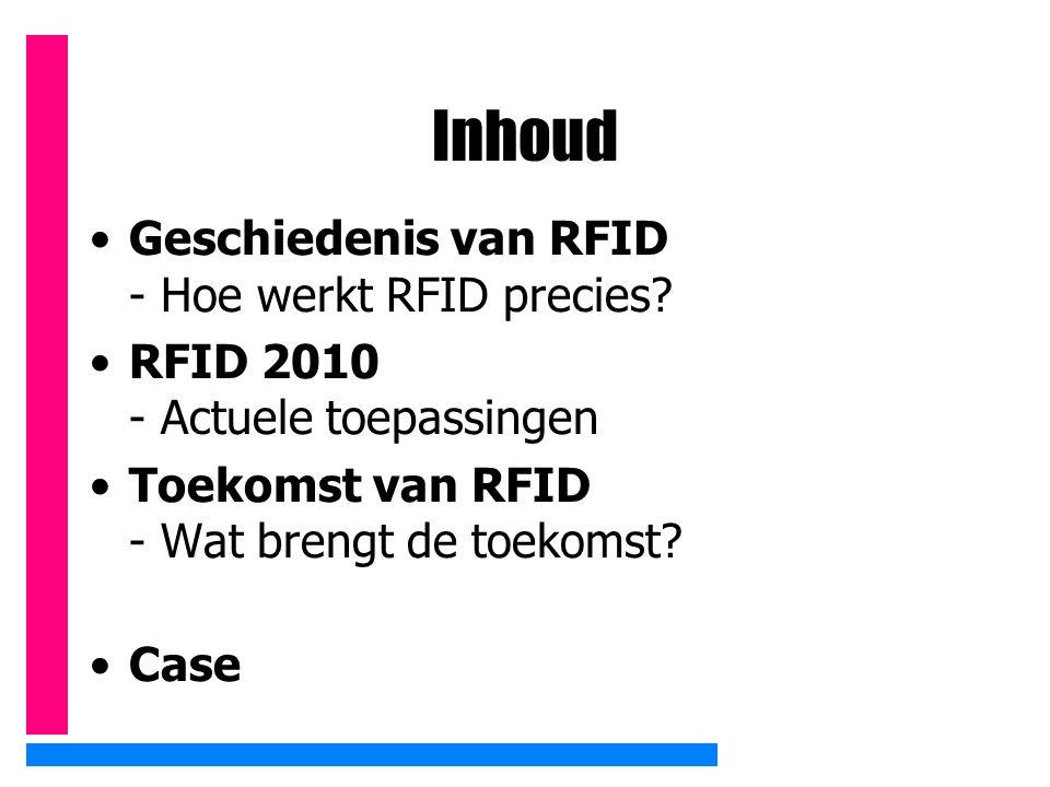 Inhoud Geschiedenis van RFID - Hoe werkt RFID precies? RFID 2010 - Actuele toepassingen Toekomst van RFID - Wat brengt de toekomst? Case