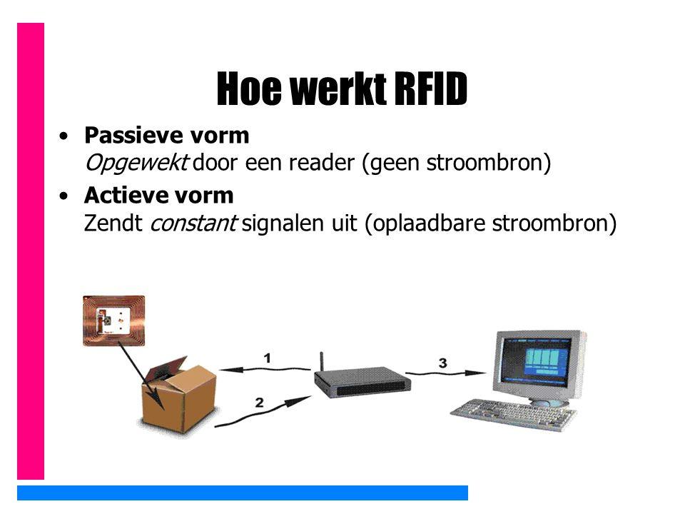 Hoe werkt RFID Passieve vorm Opgewekt door een reader (geen stroombron) Actieve vorm Zendt constant signalen uit (oplaadbare stroombron)