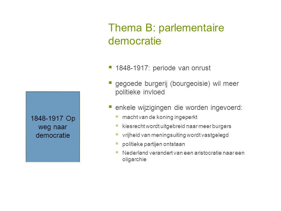 Thema B: parlementaire democratie  1848-1917: periode van onrust  gegoede burgerij (bourgeoisie) wil meer politieke invloed  enkele wijzigingen die