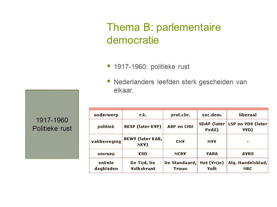 Thema B: parlementaire democratie  1917-1960: politieke rust  Nederlanders leefden sterk gescheiden van elkaar. 1917-1960 Politieke rust