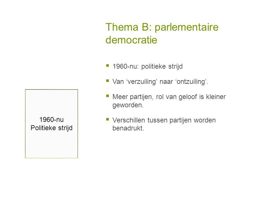Thema B: parlementaire democratie  1960-nu: politieke strijd  Van 'verzuiling' naar 'ontzuiling'.  Meer partijen, rol van geloof is kleiner geworde