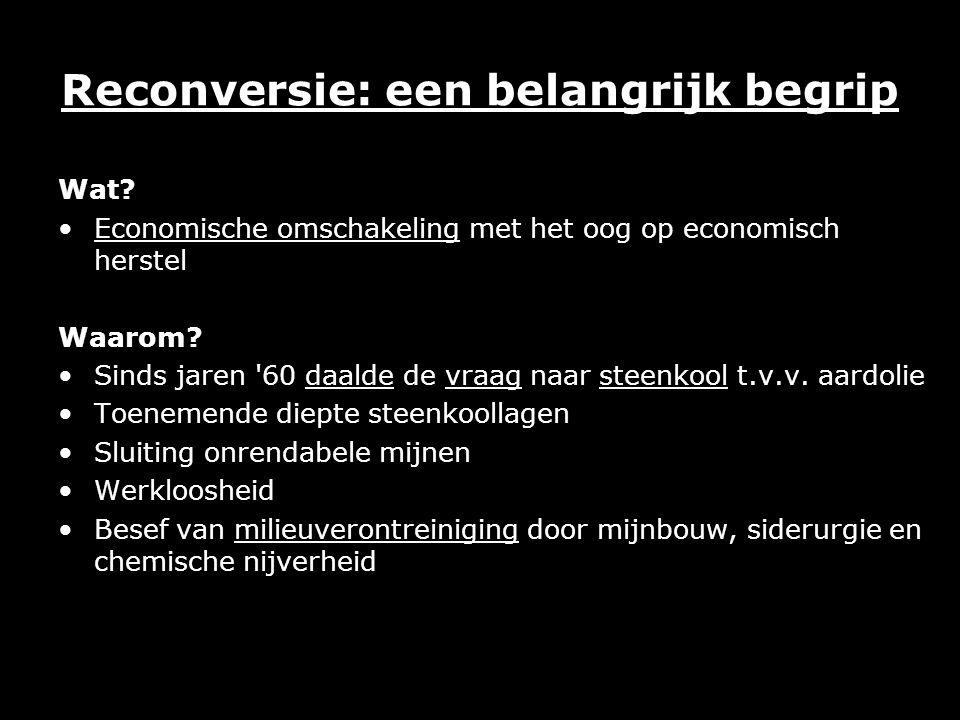 Reconversie: een belangrijk begrip Wat? Economische omschakeling met het oog op economisch herstel Waarom? Sinds jaren '60 daalde de vraag naar steenk