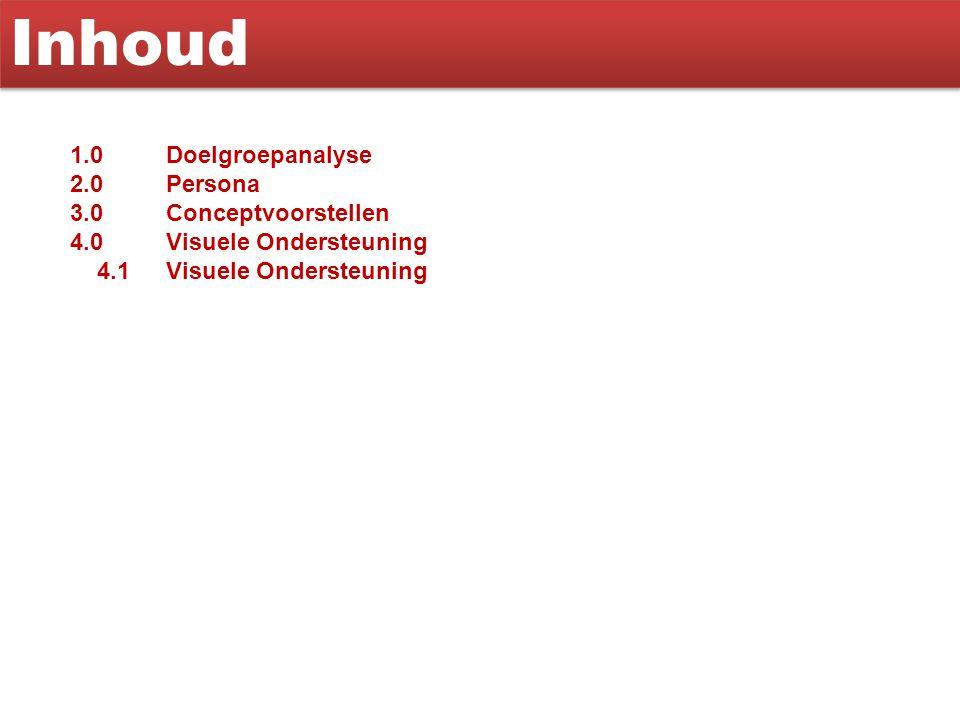 Inhoud 1.0 Doelgroepanalyse 2.0 Persona 3.0 Conceptvoorstellen 4.0Visuele Ondersteuning 4.1Visuele Ondersteuning