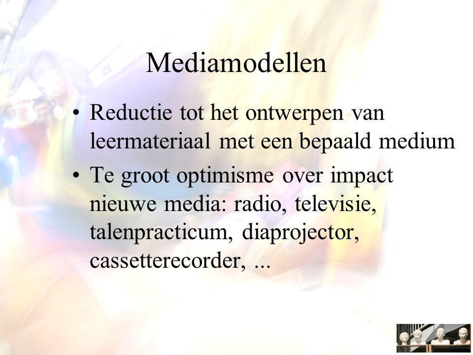 Mediamodellen Reductie tot het ontwerpen van leermateriaal met een bepaald medium Te groot optimisme over impact nieuwe media: radio, televisie, talenpracticum, diaprojector, cassetterecorder,...