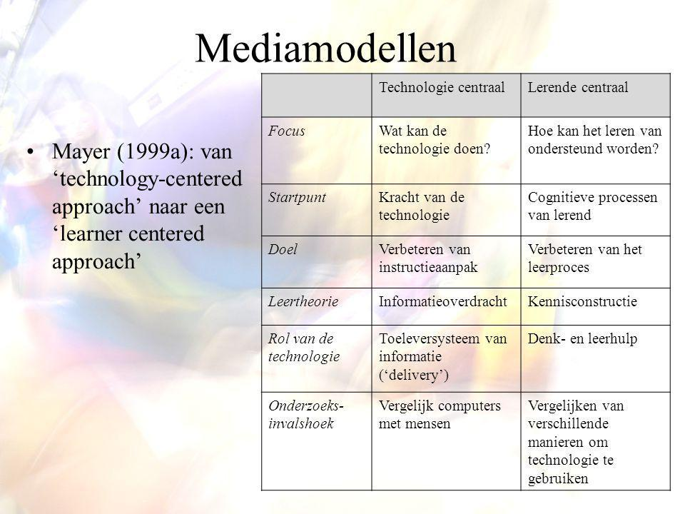 Mediamodellen Mayer (1999a): van 'technology-centered approach' naar een 'learner centered approach' Technologie centraalLerende centraal FocusWat kan de technologie doen.