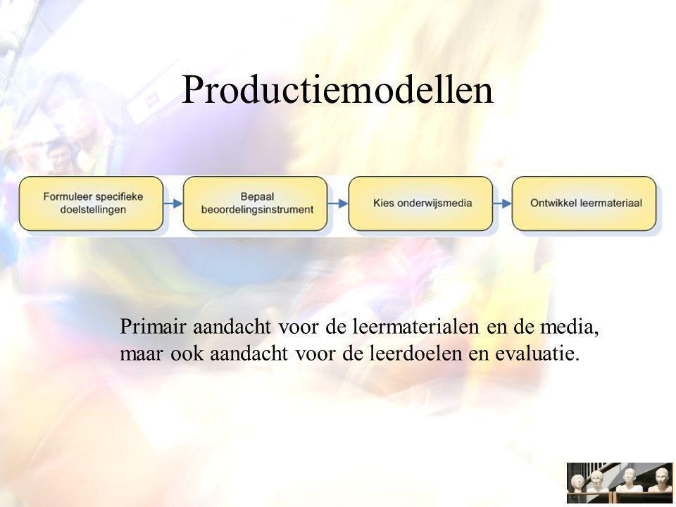 Productiemodellen Primair aandacht voor de leermaterialen en de media, maar ook aandacht voor de leerdoelen en evaluatie.