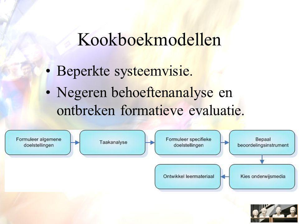 Kookboekmodellen Beperkte systeemvisie. Negeren behoeftenanalyse en ontbreken formatieve evaluatie.