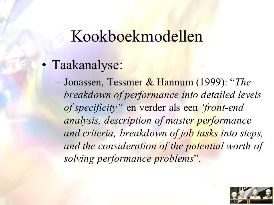 Kookboekmodellen Taakanalyse: –Jonassen, Tessmer & Hannum (1999): The breakdown of performance into detailed levels of specificity en verder als een 'front-end analysis, description of master performance and criteria, breakdown of job tasks into steps, and the consideration of the potential worth of solving performance problems .