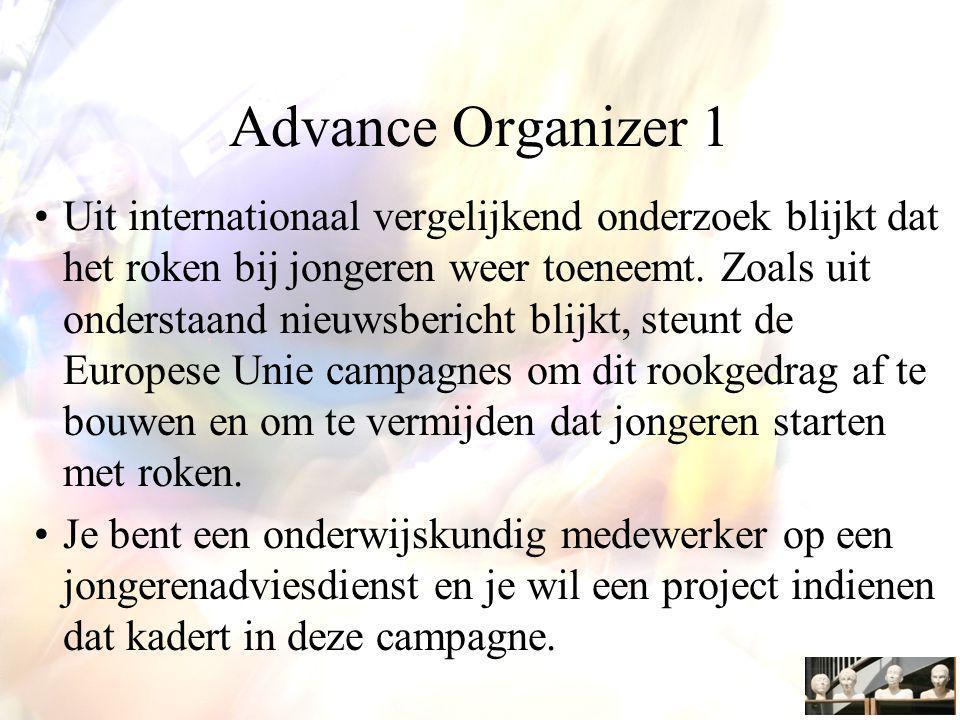 Advance Organizer 1 Uit internationaal vergelijkend onderzoek blijkt dat het roken bij jongeren weer toeneemt.