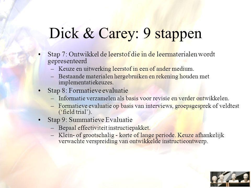 Dick & Carey: 9 stappen Stap 7: Ontwikkel de leerstof die in de leermaterialen wordt gepresenteerd –Keuze en uitwerking leerstof in een of ander medium.