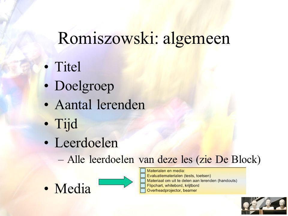Romiszowski: algemeen Titel Doelgroep Aantal lerenden Tijd Leerdoelen –Alle leerdoelen van deze les (zie De Block) Media