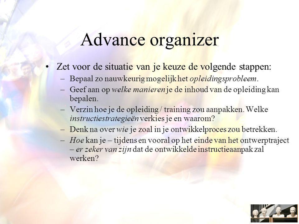 Advance organizer Zet voor de situatie van je keuze de volgende stappen: –Bepaal zo nauwkeurig mogelijk het opleidingsprobleem.