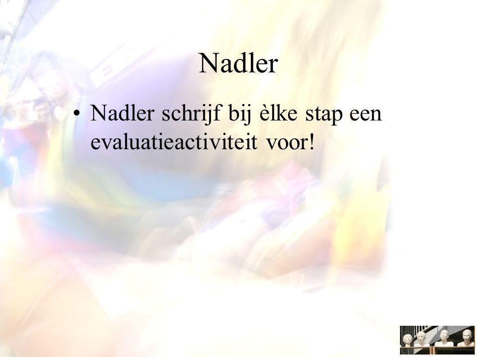 Nadler Nadler schrijf bij èlke stap een evaluatieactiviteit voor!