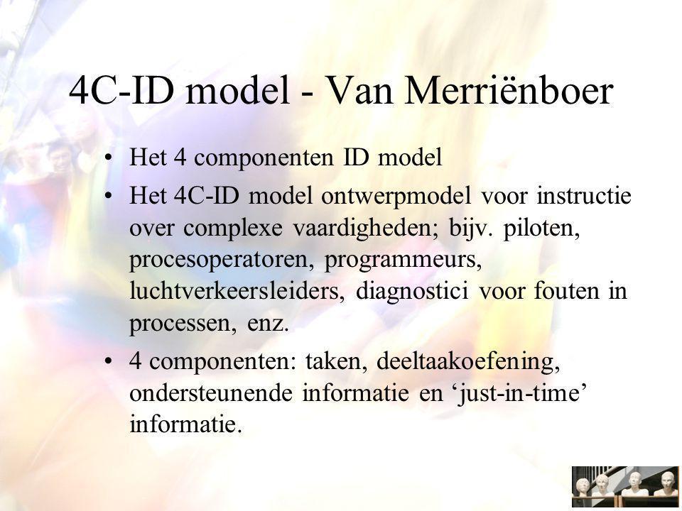 Het 4 componenten ID model Het 4C-ID model ontwerpmodel voor instructie over complexe vaardigheden; bijv.