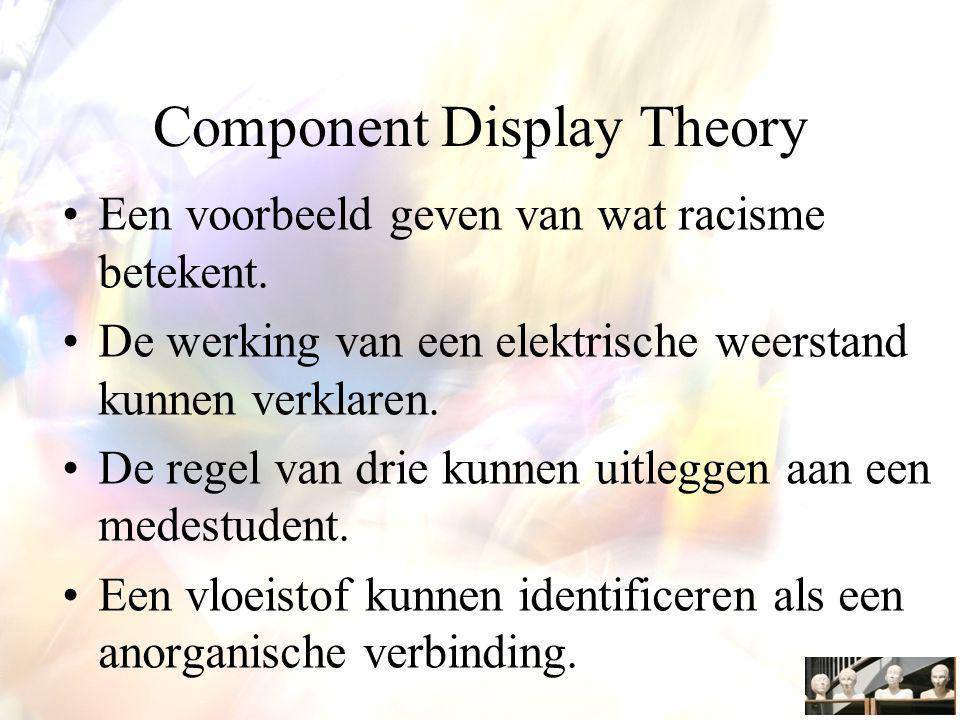Component Display Theory Een voorbeeld geven van wat racisme betekent.