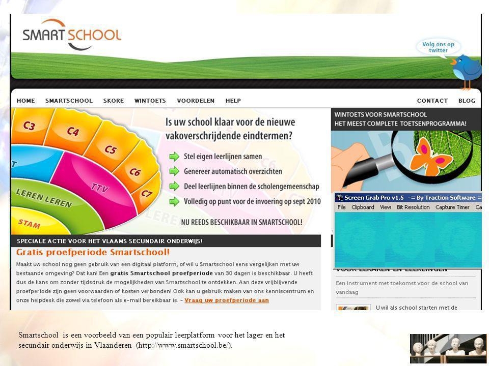 Smartschool is een voorbeeld van een populair leerplatform voor het lager en het secundair onderwijs in Vlaanderen (http://www.smartschool.be/).