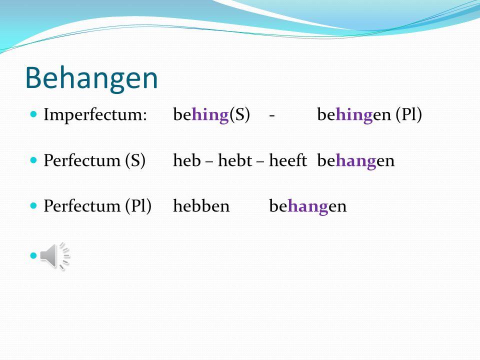 Begrijpen Imperfectum: begreep (S) -begrepen (Pl) Perfectum (S) heb – hebt – heeftbegrepen Perfectum (Pl)hebbenbegrepen